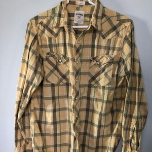 Fossil Men's Plaid Long Sleeve with pearl snaps